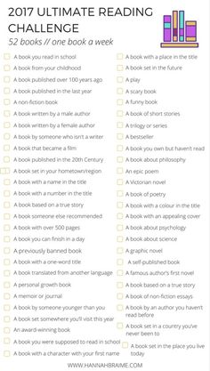 2017 Ultimate Reading Challenge! Are you ready for a 2017 reading challenge? Click through to get your 26-book and 52-book challenge checklists...