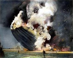 The burning of the German zeppelin 'Hindenburg' at its mooring at Lakehurst, New Jersey on 6 May 1937, with the loss of 36 lives. Oil over a photograph.