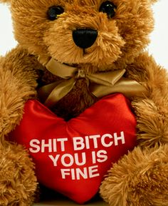 """$26.00 - Best. Valentines Present. Ever - """"SHIT BITCH YOU IS FINE"""" Teddy Bear."""