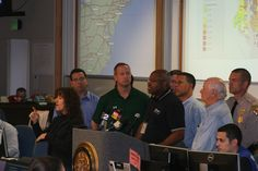 Maryland Transportation Secretary Mobley briefs staff and news crews during Hurricane Sandy.