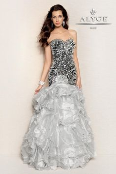 Alyce Paris Prom Dress couture looking layers of ruffles for prom #IPAProm