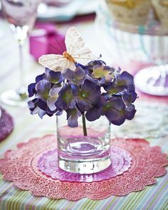 Butterfly & Hydrangea Table Decoration butterflies and flowers perfect mix