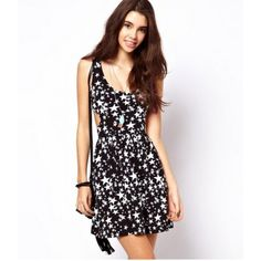 Star Print Sleeveless Round Neck A-Line Dress