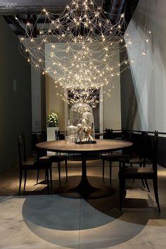 Editors' Picks: 90 Statement Light Fixtures |  Jan Pauwels's Galaxy chandelier in nickel by Baxter.