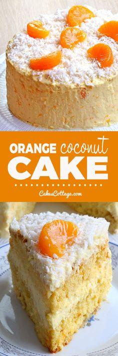 Need a perfect Easter or spring cake recipe? Orange Coconut Cake is perfect for warmer weather entertaining. Cake Mix Recipes, Baking Recipes, Dessert Recipes, Pie Cake, No Bake Cake, Just Desserts, Delicious Desserts, Yummy Snacks, Spring Cake