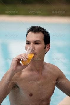 Buy Man drinking orange juice in the pool by Phovoir on PhotoDune. Man drinking orange juice in the pool Citrus Juicer, Orange Juice, Cute Kids, Drinking, Author, Stock Photos, Search, Beverage, Drink
