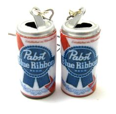 Pabst Blue Ribbon Earrings! If I could pierce my ears I'd never take these off- super classy!