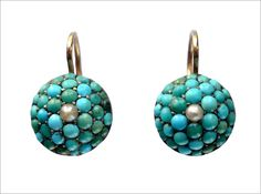 like tiny turqoise and pearl breasts.  1890s Victorian Turquoise & Pearl Earrings at erie basin.