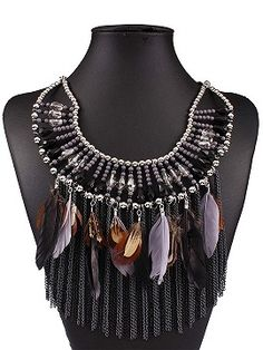 Black Contrast Beaded Feather And Chain Tassel Necklace
