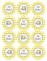 yellow and grey baby shower free printables - Google Search