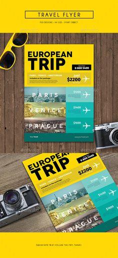 Travel Flyer Template PSD #design Download: http://graphicriver.net/item/travel-flyer/13882137?ref=ksioks