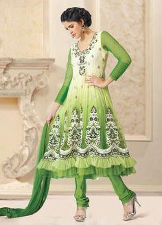 $113.50 Green Full Sleeve Net Long Anarkali Salwar Kameez 21034