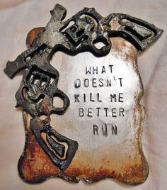 "COWGIRL CUFF ""What Doesn't Kill Me Better Run"" Sixshooter Pistol Mixed Metal Western Cuff Bracelet"
