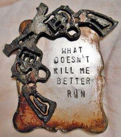 "BADASS COWGIRL CUFF ""What Doesn't Kill Me Better Run"" Sixshooter Pistol Mixed Metal Western Cuff Bracelet"