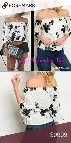 💦LAST2💦WHITE BLACK EMBROIDERED OFF SHOULDER TOP I LOVE this top. It is super chic and ready for upcoming  weather. Off shoulder style. Bell 3/4 sleeves. Elasticized waist. Embroidered black floral design. Lined. Fits TTS.   🍃DENIM SKIRT ALSO AVAILABLE   ✔Sizes available:  S M l ✔MODELING SIZE MEDIUM (I'm a 34C)  ❌PRICE FIRM❌ Tops