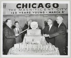 Chicago's 120th #birthday celebration, March 4, 1953.  Featuring (from left) Mayor Richard J. Daley; Joseph L. Block, president of the #Chicago Association of Commerce and Industry; Paul M. Angle, retired director of the Chicago Historical Society; William L. McFetridge, national vice president of the AFL/CIO; and Dr. Benjamin Willis, superintendent of the Chicago Public Schools. Photograph by Berger for the Chicago American.