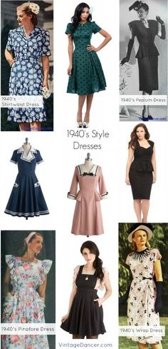 Browse thousands of vintage inspired clothing, shoes, and accessories for women and men to buy online. Learn fashion history and easy DIY costume & outfit ideas. 1940s Fashion Women, 1940s Fashion Dresses, 1940s Dresses, Vintage Dresses, Fashion Outfits, Womens Fashion, Vintage Clothing, Vintage Inspired Fashion, Retro Fashion