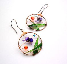 Purple butterfly earrings - Colorful spring landscape earrings - Wire Wrapped and Resin Earrings teamt. $33.00, via Etsy.