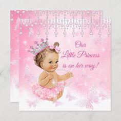 Invitación Boletín de Baby Shower Princesa Rosa