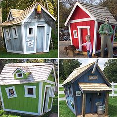 crooked playhouses...pretty sure if I tried to make a regular playhouse for the boys it would come out crooked anyway!
