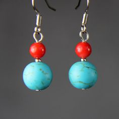 Turquoise coral simple drop Earrings Bridesmaids gifts Free US Shipping handmade Anni Designs