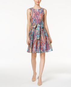 Tommy Hilfiger Paisley-Print Fit & Flare Dress - Dresses - Women - Macy's
