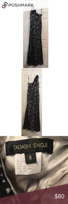 TADASHI SHOJI Black Lace One Shoulder Gown Perfect condition   Size 8   Length: 52 inches  Arm pit to armpit: 15.5 inches Tadashi Shoji Dresses One Shoulder
