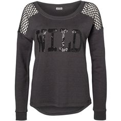 Vero Moda Long Sleeved Sweatshirt ($22) ❤ liked on Polyvore featuring tops, hoodies, sweatshirts, shirts, asphalt, sweatshirts hoodies, extra long sleeve shirts, cut loose shirt, loose shirts and long sleeve sequin top