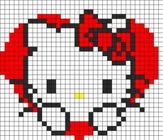 Hello Kitty Heart Fuse Bead Pattern | Perler Bead Patterns | Characters Fuse Bead Patterns ***** This could be crocheted!!!*****