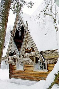 Russian wooden house in winter. #Russia #wooden #house