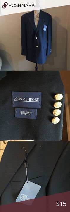 Men's NWT blazer John Ashford new blazer. 44R 55%polyester 45%wool. Dry clean only. Gold buttons. John Ashford  Suits & Blazers Sport Coats & Blazers