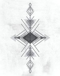 Black & White Aztec Geometric Triangle Neutral by LiveLoveStudio, $30.00