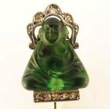 antique art deco stick pin gold diamonds green buddha fitted box 1920 s 5626 Diamond Eyes, Halo Diamond, Antique Jewelry, Vintage Jewelry, Antique Art, Stick Pins, Art Deco Jewelry, Tie Pin, Buddha