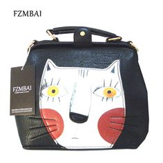 Check it on our site FZMBAI 2017 Fashion women leather bag doctor bag ladies vintage cute cat messenger bag just only $21.29 with free shipping worldwide  #womanshoulderbags Plese click on picture to see our special price for you