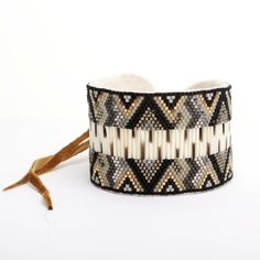 Black Beaded Porcupine Quill Cuff | Beyond Buckskin Boutique