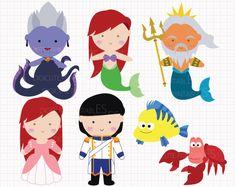Disney Inspired Little Mermaid Digital CLIP ARTS by Digicute, $5.00