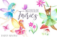 Watercolor Fairies Clipart | Flower Fairy ClipArt - Fantasy Girls Art - Two Skintones - Mushroom and Butterfly - Instant Download PNG Files