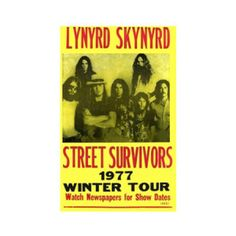 Lynyrd Skynyrd 1977 Winter Tour Concert Poster - Hang this iconic Lynyrd Skynyrd 1977 Winter Tour Concert Poster from your wall to relive the epic journey daily.