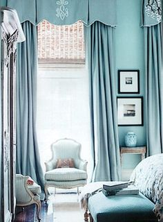 Inspiration for a traditional calm blue bedroom. Pale blue walls and ottoman at the foot of the bed. Statement full length French blue curtains at the windows with a shaped box pleat valance soft pelmet. Beautiful Bedrooms, Beautiful Homes, House Beautiful, Beautiful Sky, Beautiful Interiors, Tiffany Blue Bedroom, Blue Rooms, Blue Walls, Color Walls