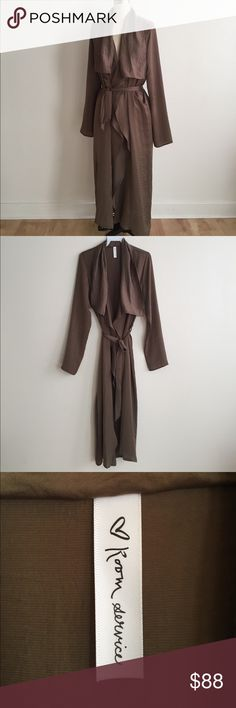 Long Taupe Robe with Belt! Perfect transitional piece from Summer to Fall or Winter to Spring. Perfect for layering over your tops or dresses! Measures 51 from top to bottom. Large 40 bust, small 39 bust. Can be worn open or closed. Brand new never worn. Made in USA quality! Purchased directly from manufacturer. Anthropologie Jackets & Coats