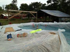 DIY Swimming Pool Using... Hay Bales?