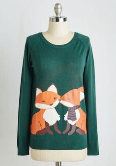 Smooch Mooch Sweater. This fun, forest green sweater is a casual-chic homage to all the stylistas who love stealing kisses from their sweetie! #green #modcloth