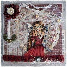 "Card created by LLC DT Member Sandra Mathis, using papers from Maja Design's ""It's Christmas Time"" collection and an image from Sweet Pea Stamps. Thing 1, Love Craft, Happy Saturday, Christmas Time, Stamps, Stamp Card, Scene, Princess Zelda, Valentines"