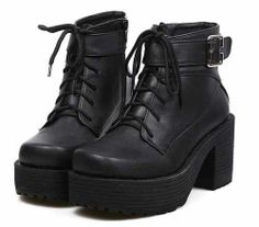 2013 Womens Block heels Chunky Platform Goth Lace Up Lady's Combat Ankle Boots A ($23.99) - Svpply