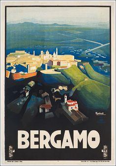 1927 Bergamo, Italy vintage travel poster