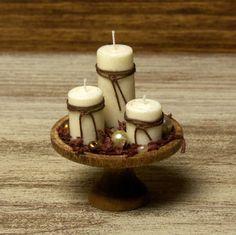 Velas de otoño miniatura Noble para su casa de muñecas