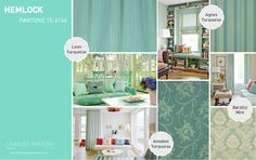 Pantone Spring 2014 interior decor inspiration Hemlock is soothing and spa like.  A great color for a bath or a sunroom.