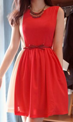 Sleeveless waisted chiffon red dress