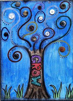 Beautiful!      Tree of life mixed media watercolor painting by osbornemixedmedia, $35.00