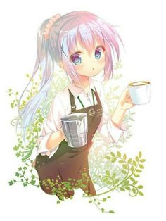 Coffee Manga Anime Art - My Virtual Coffee House Loli Kawaii, Kawaii Anime Girl, Anime Art Girl, Manga Art, Anime Girls, Anime Chibi, Chica Anime Manga, Pretty Anime Girl, Beautiful Anime Girl